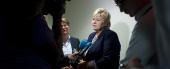 "Statsminister Erna Solberg i møte med pressen under ""Climate Summit 2014"" i New York, 23. september i år. Kreditering: UN Photo/Zach Krahmer"